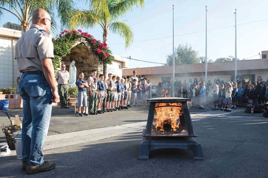 Cub Scout Pack 66 respectfully retire their current flag - santa clarita local news