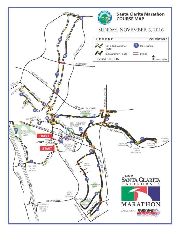 The course map for the 2016 Santa Clarita Marathon. Courtesy of the City of Santa Clarita
