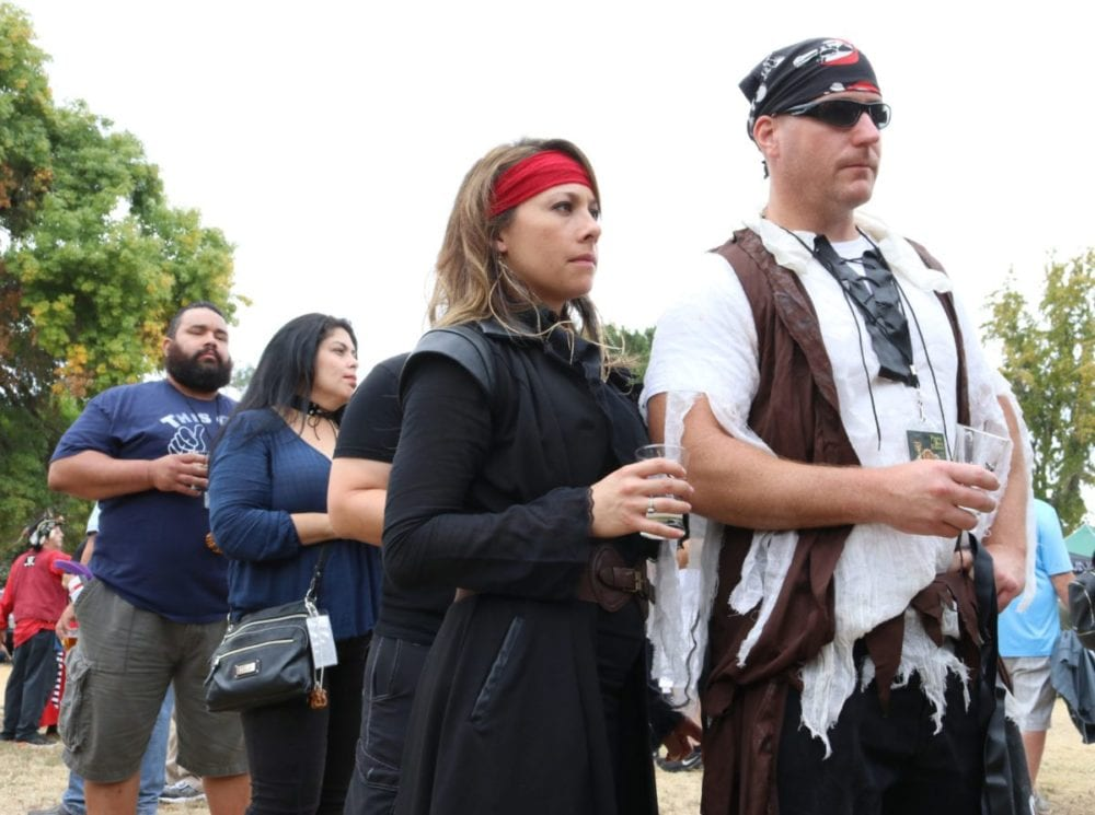 Attendees of the second annual SCV Brewmasters Pirate Beer Festival wait in line for another round at Vista Valencia Golf Course on Saturday. Nikolas Samuels/The Signal