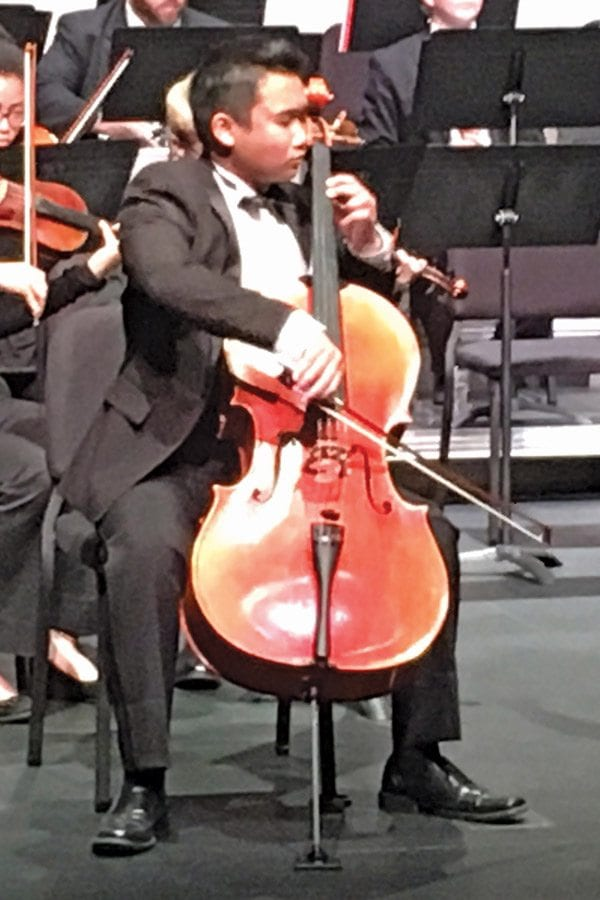 Phillip Suwandi performs the cello solo of Haydn's Concerto for Cello and Orchestra during the SCVYO's performance on Saturday, October 22 at the Performing Arts Center at College of the Canyons. Courtesy photo