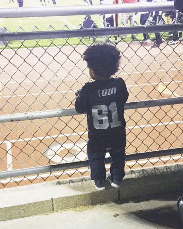 Noah attends every single Golden Valley football game to watch his father play. Courtesy photo.