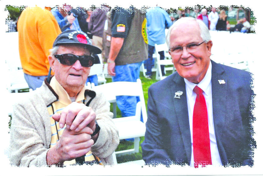 Rex Gribble and Ted Olsen at SCV's 2015 Veterans Day Ceremony. Courtesy photo.