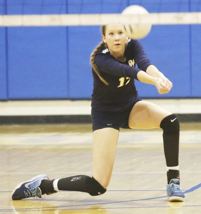 West Ranch's Tasha Skabelund (17) drops down for a dig against Saugus during their match at Saugus on Tuesday. Katharine Lotze/Signal