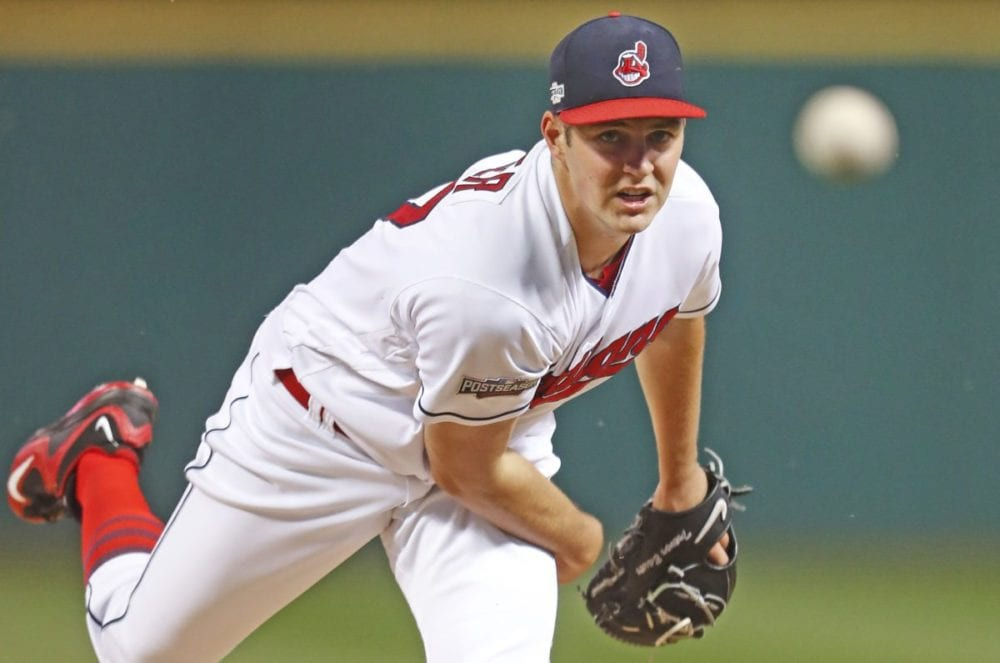 Cleveland Indians pitcher Trevor Bauer throws against the Boston Red Sox in the first inning during Game 1 of the American League Division Series, Thursday on Oct. 6 in Cleveland. (AP Photo/Paul Sancya, Pool)