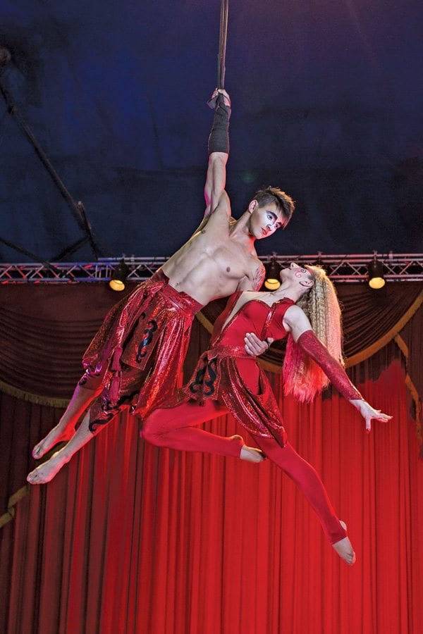 Patrick Marinelli and Nicolette Fornasari performing their breathtaking aerial strap act. Photo by Mike Rollerson