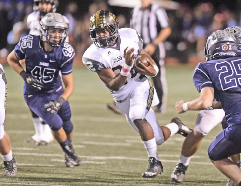 Golden Valley runningback KJ Maduike (22) runs towards the end zone against Saugus at College of the Canyons on Oct. 7. Dan Watson/The Signal