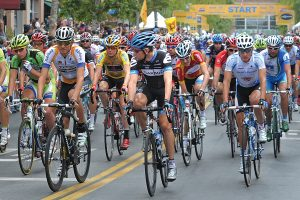 Dan Watson The 178 riders of the Amgen Tour of California take off from the starting line at the  Westfield Valencia Town Center Mall as they start the final leg of the 2001 Amgen bike race in Valencia in May 2016.  052111