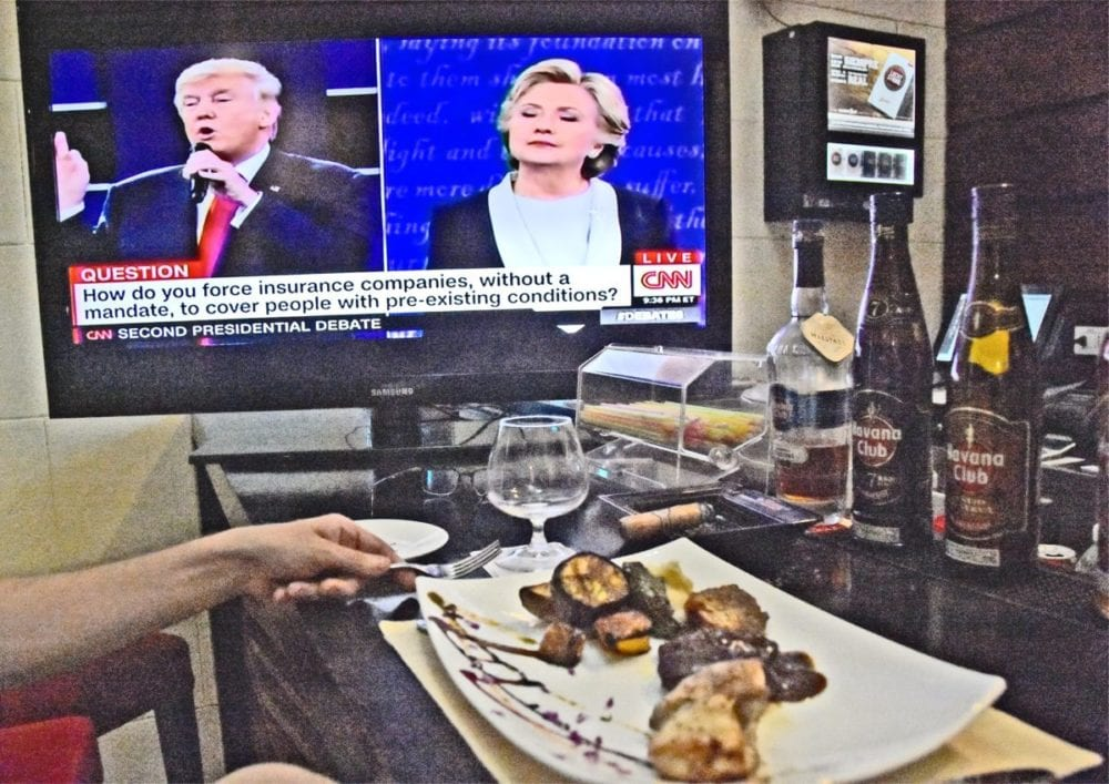 Watching the debate at our hotel bar in Old Havana, Cuba. Katharine Lotze/Signal