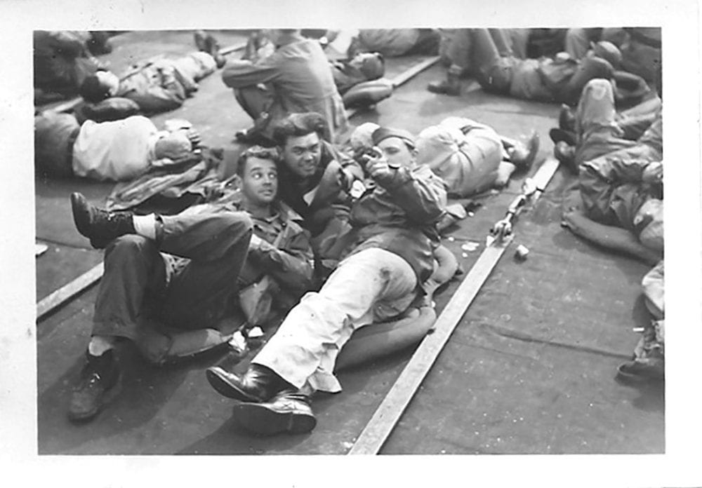 Paul Yadlosky and friends aboard a troop ship headed home from Casablanca. Late 1945.
