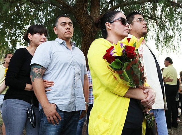 Friends and family of Maria Acevedo participate in a vigil held in her honor at Central Park on Sunday. Nikolas Samuels/The Signal