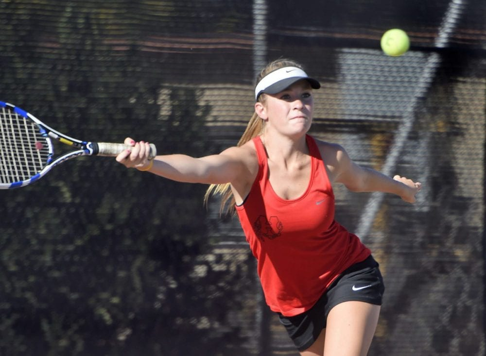 Hart's Emily Thompson competes against Saugus at Hart on Thursday. The Indians went on to win 10-8. Dan Watson/The Signal
