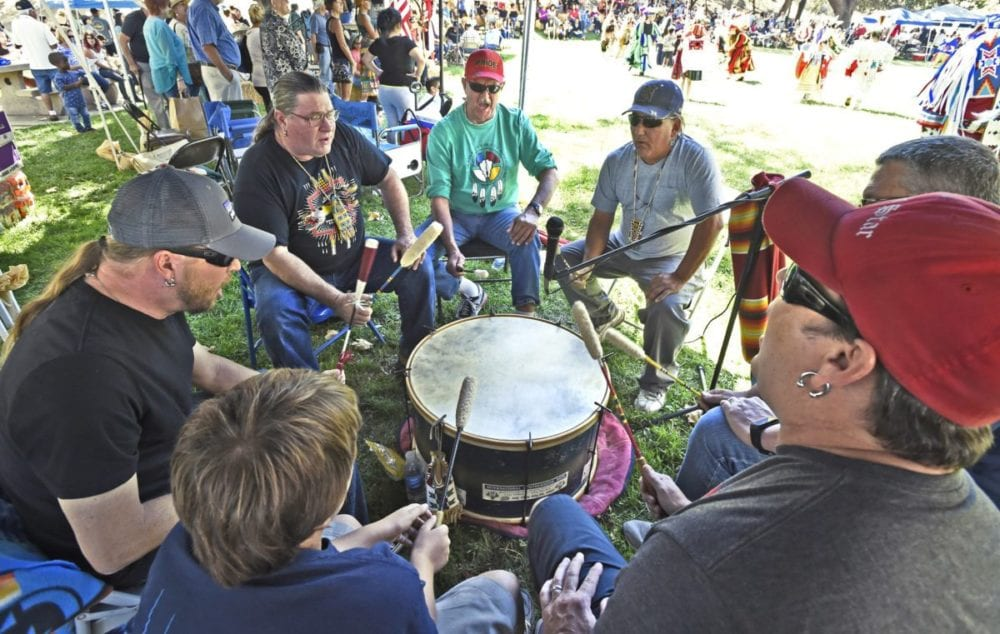 The Blue Star Drummers drum during the inter-tribal dance at the 23rd Annual Hart of the West PowWow & Native American Craft Fair held at William S. hart park in Newhall on Saturday. Dan Watson/The Signal