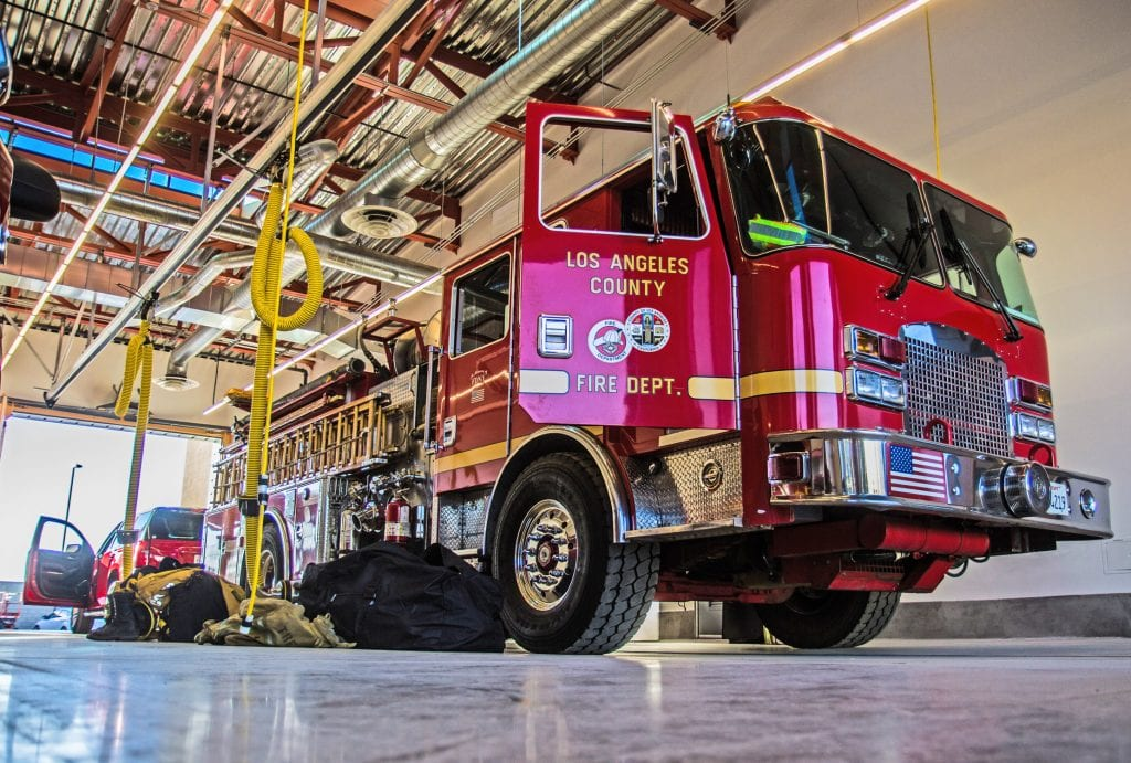 Engine 143, formerly 124, sits inside the apparatus bay at Fire Station 143. Austin Dave/The Signal