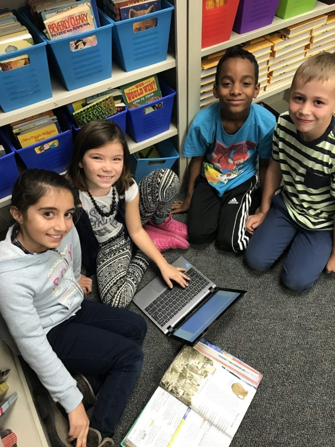 Students in Terri Stillson's third grade class at Castaic Elementary School show off their new Chromebooks. Courtesy of Mary Nicol