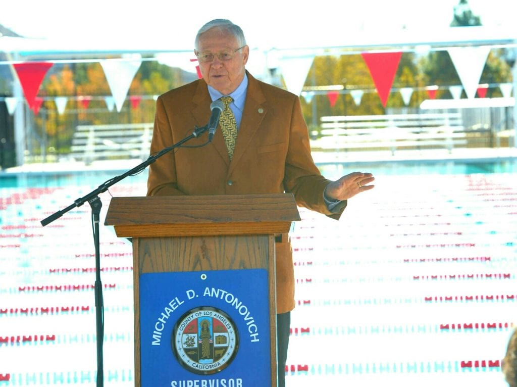 Los Angeles County Supervisor Mike Antonovich speaks at the dedication ceremony for the Castaic Sports Complex Aquatic Center on Wednesday. Dan Watson /The Signal