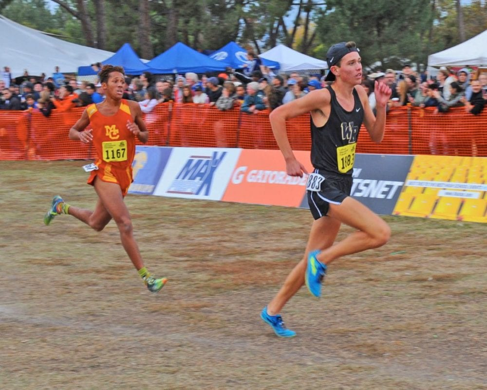 West Ranch's Jack Arnold approaches the finish line in the boys Division 2 race at the CIF State Cross Country Championships in Fresno Saturday. Photo by Leonard Coutin/For The Signal