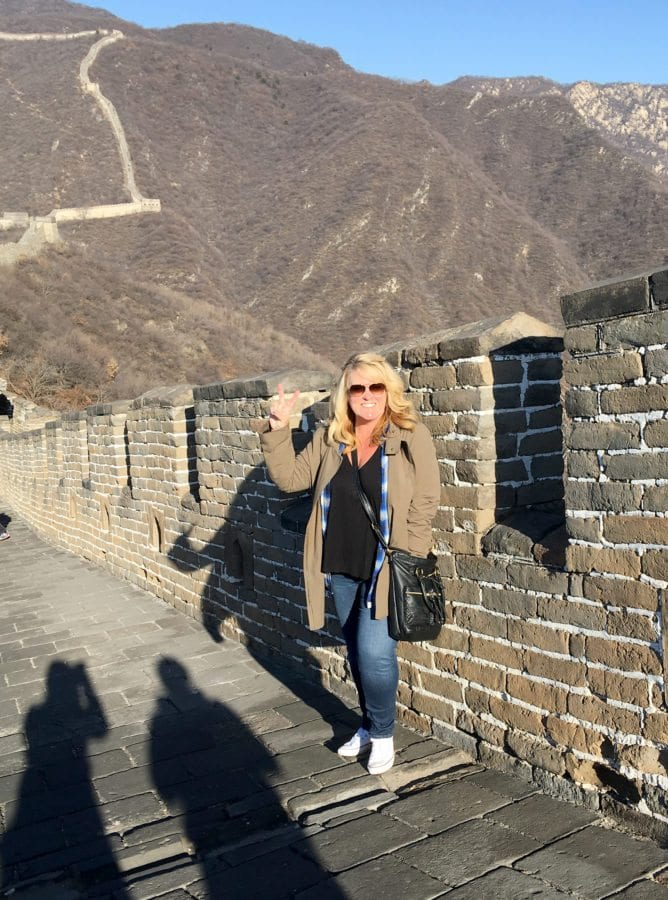 Castaic Elementary School Principal Stephanie Beach visitng the Great Wall of China during her recent trip to China. Courtesy of Stephanie Beach