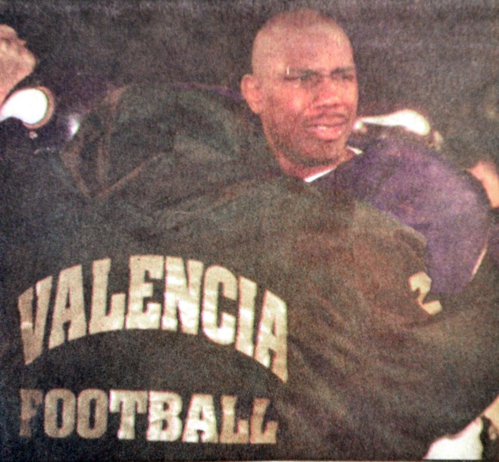 In this 1999 Signal file photo, Valencia's Manuel White reacts to losing the CIF-SS D3 title game to Hart at COC.