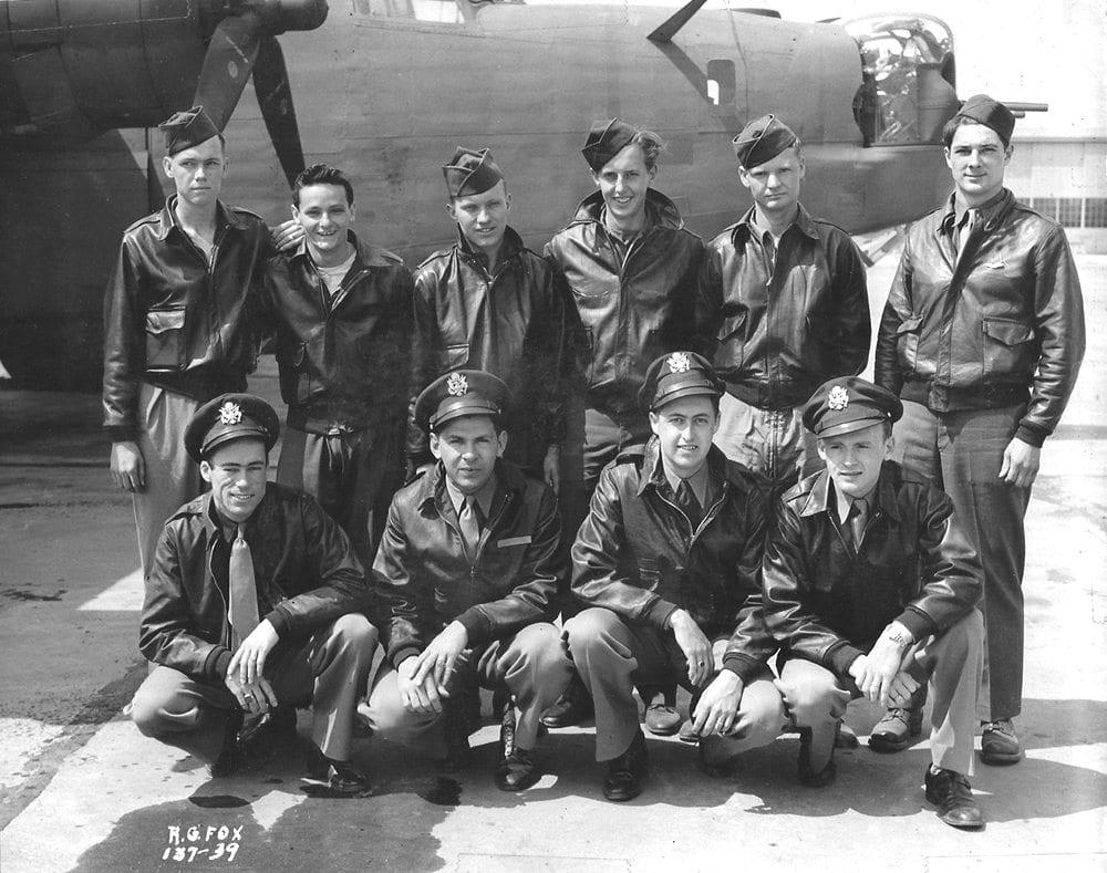 John MacLachlan bottom row 2nd from left. B-24 flight crew. Courtesy photo.