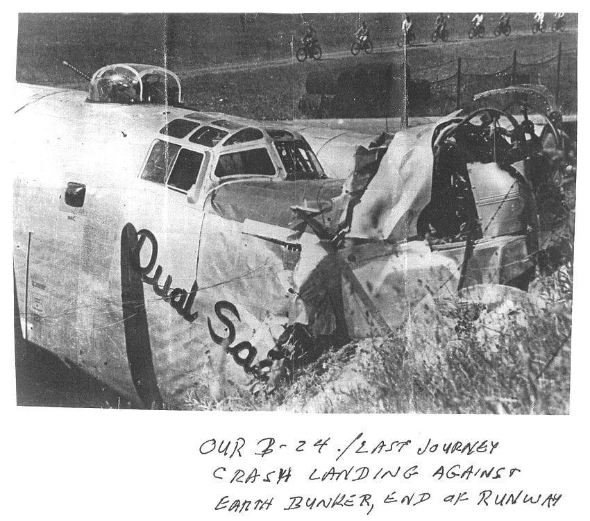 B-24 crash landing. Courtesy photo.