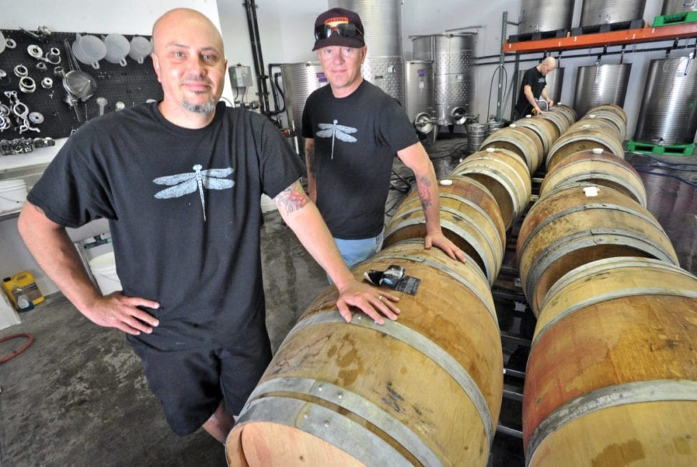 Co-owners and co-wine makers Steve Lemley, left, and Nate Hasper of Pulchella Winery in Valencia. 031816 DAN WATSON
