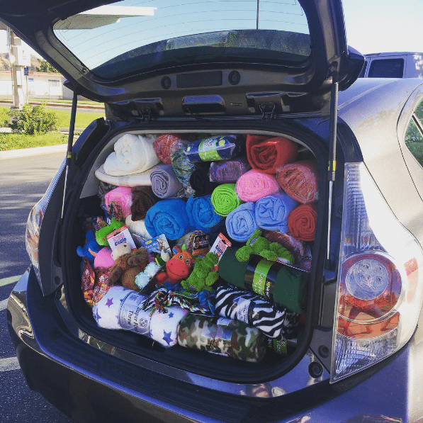"One of three cars packed full for the Castaic Middle School's Kids Loving Animals Within Shelters (KLAWS) club's ""Shelter Snuggles"" donations. Courtesy of KLAWS"
