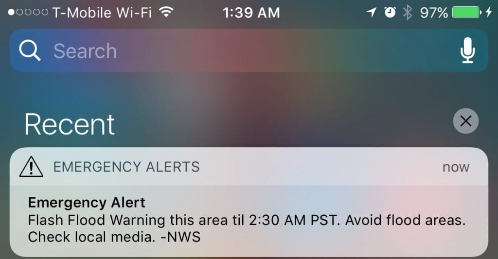 A screenshot of Monday morning's alert as seen on an iPhone 6S Plus. Austin Dave/The Signal