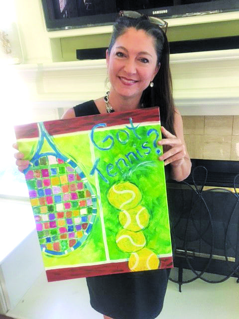 Nicole Anderson and her Tennis themed artwork she created at Pinot's Palette. Courtesy photo