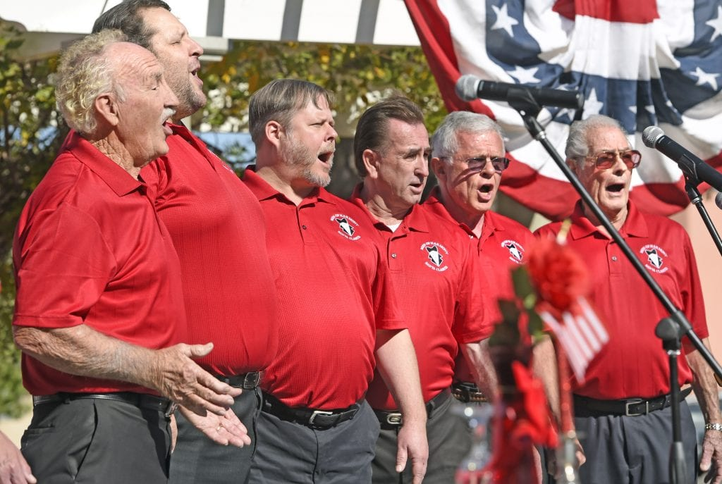 The Men of Harmony sing The Songs of the Military Service at the annual Veterans Day Ceremony held at Veteran's Historical park in Newhall on Friday. Dan Watson/The Signal