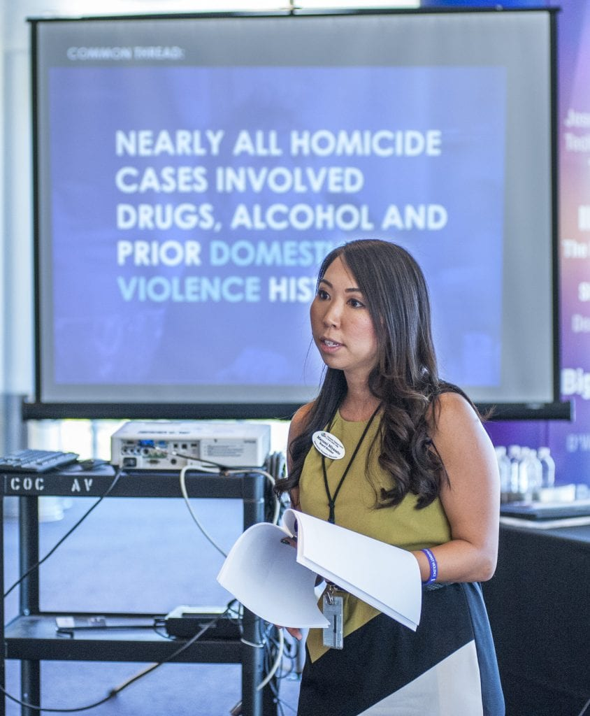 Photo Tom Cruze/For the Signal Mayumi Mayasato, from the City of Santa Clarita, leads an afternoon breakout session during the Domestic Violence Summit at College of the Canyons. 0923
