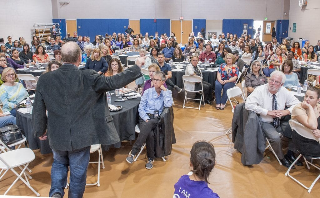 Photo Tom Cruze/For the Signal Jackson Katz presents his keynote address during the Domestic Violence Summit at College of the Canyons. 0923