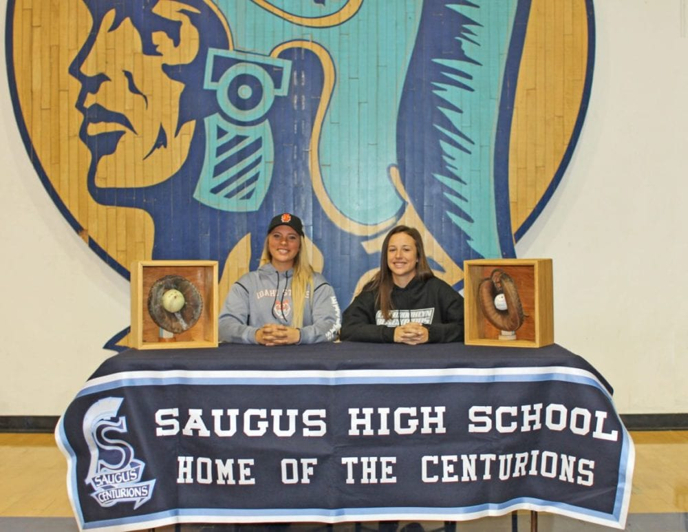 Saugus High softball player Cassidy Fitzgerald, left, signed a national letter of intent to Idaho State University and her teammate Ryleigh Bermea, right, signed with Long Island University. Courtesy photo