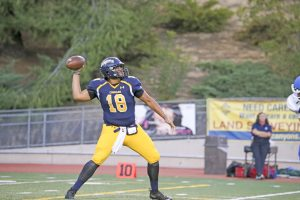 College of the Canyons quarterback Matt Moore has thrown for more than 300 yards in all three of his starts this season. John Bogna/COC Sports Information Office