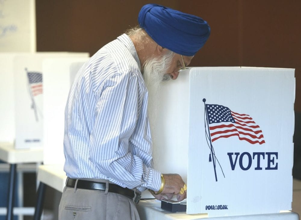 Ronak Singh votes at Scvi Charter School in Castaic on Tuesday morning. Dan Watson// The Signal