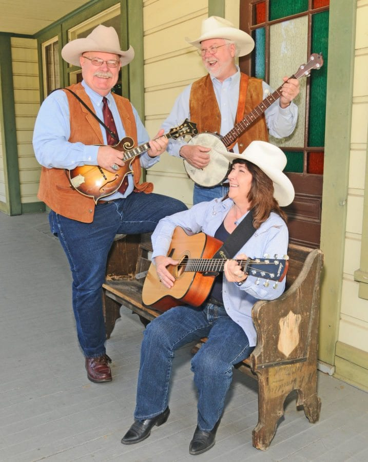 """""""Western State of Mind"""" members John Bergstrom, John Nelson and Gency Brown at the Saugus Train Station.  Courtesy of John Bergstrom."""