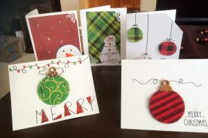 Some of the handmade holiday cards made by the Kuncar sisters. Courtesy photo