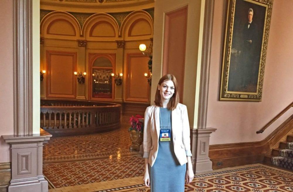 Natalie Fortman tours the statehouse on Monday.