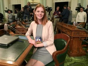 Presidential elector Natalie Fortman of Valencia at the statehouse in Sacramento on Monday.