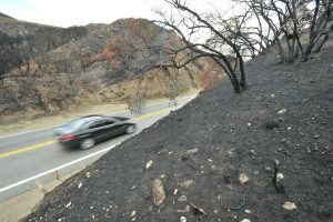 Car drives through burn area on Placerita Canyon Road. No slides or flooding, photo by Dan Watson, The Signal.