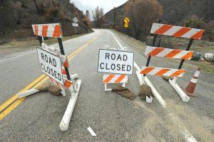Sand Canyon Road closed above Placerita Canyon Road . photo by Dan Watson, The Signal.
