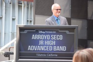 Band instructor Rod Bennett at Arroyo Seco Junior High School band podium, spring 2016. Courtesy of Valerie Pryor