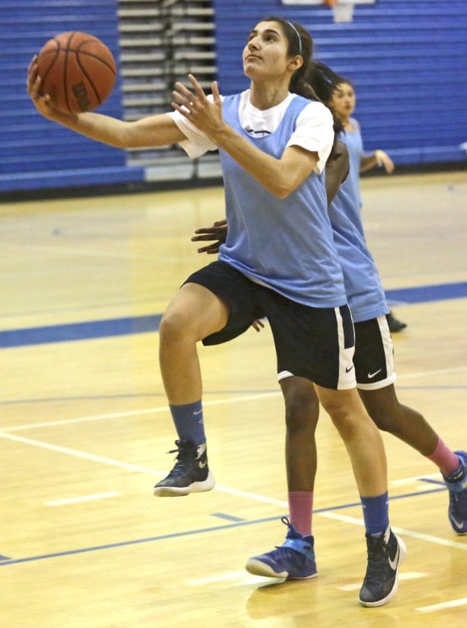 Saugus' Mary Rose Elias goes in for a layup during a practice on Nov. 29. Katharine Lotze/Signal