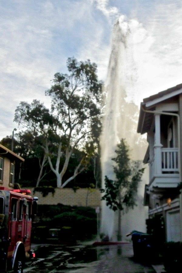 Water released from hydrant near Valencia High School Monday morning. Courtesy photo by Corey Kathleen Fredrickson, for The Signal.