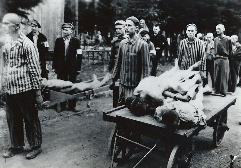 Courtesy photo. Dachau prisoners removing the dead.