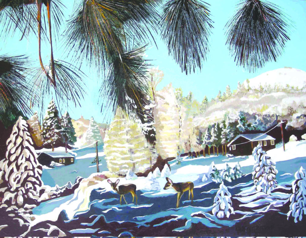 Snow at the R-Ranch in the Sequoias, acrylic painting by Olga Kaczmar, SCAA. Courtesy photo