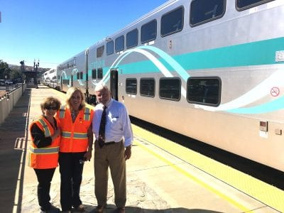 Local elected officials talk transit on Metrolink ride