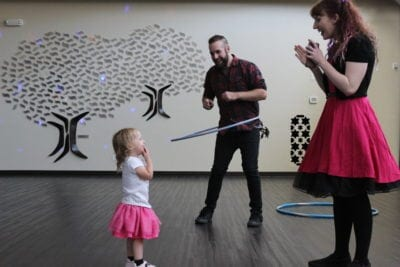 Preschoolers, parents dance to the 1980s at Congregation Beth Shalom