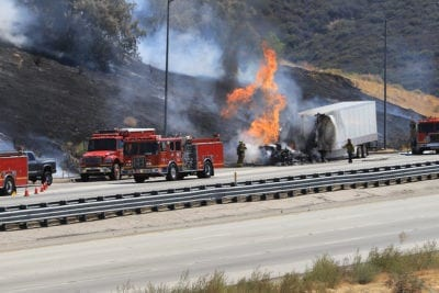 Big rig fire sparks brush fire near Pyramid Lake