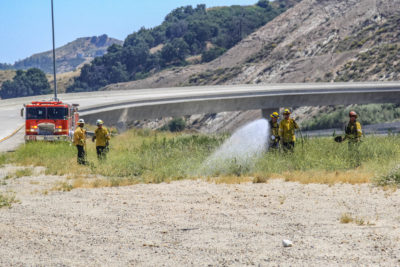 Firefighters respond to brush fire in Newhall Pass