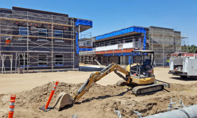 First two-story classroom buildings at Hart High under construction, open in January